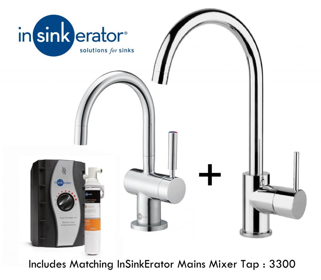 InSinkErator HC3300C & 3300 Mains Mixer Tap Pack   Matching Taps - Chrome-0