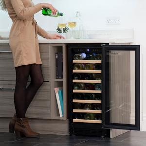 Husky HUS-ZY1-S-NS-31 | 31 Bottle Signature Single Zone Wine Cooler, Black-0