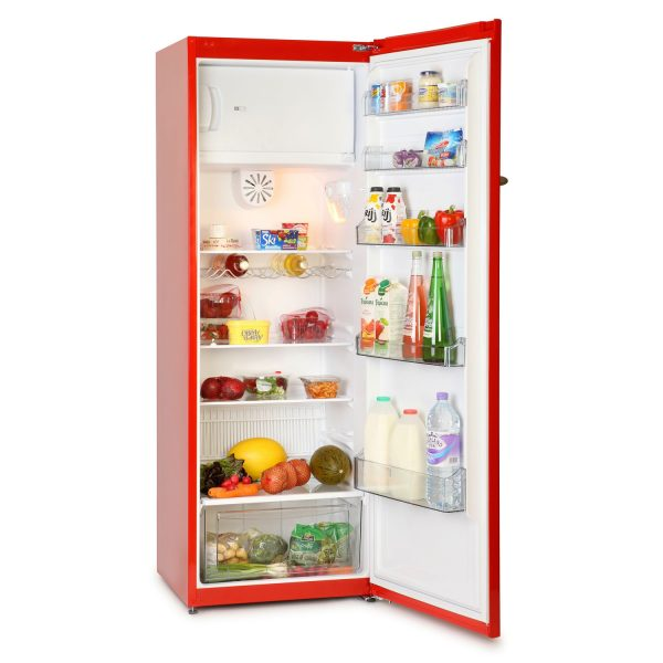 Montpellier MAB340R | Retro Larder Fridge with Ice Box - Red-0