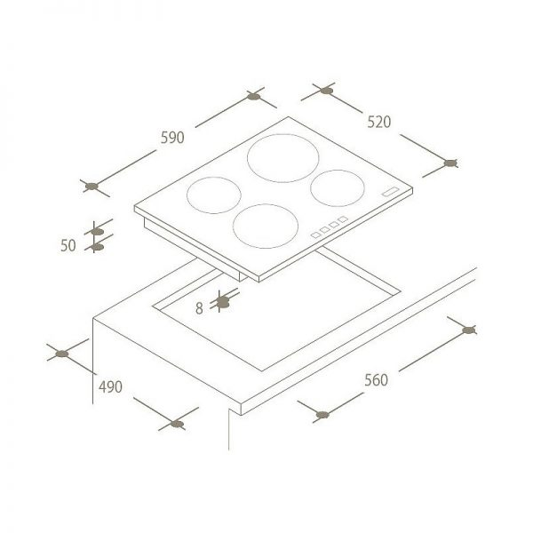 Candy CI640CBA | 60cm, 13amp Induction Hob-1798