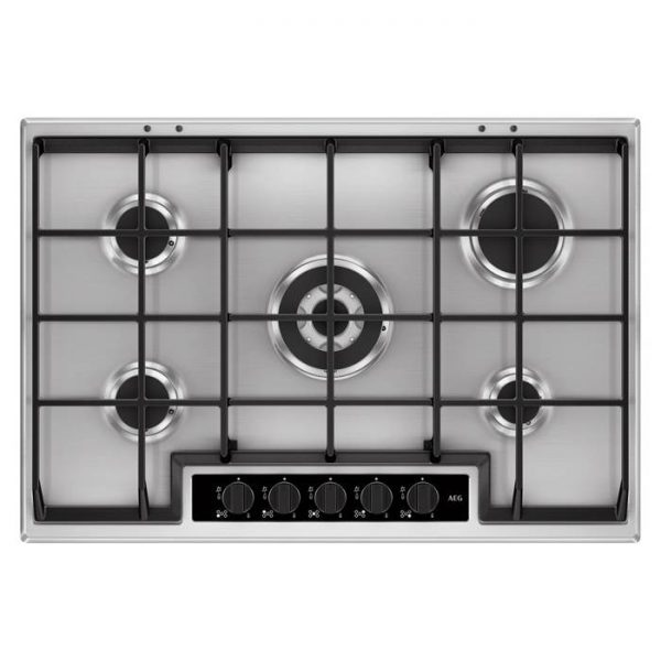 AEG HG755450SY | 75cm 5 Burner Gas Hob with Wok Burner - Stainless Steel-0
