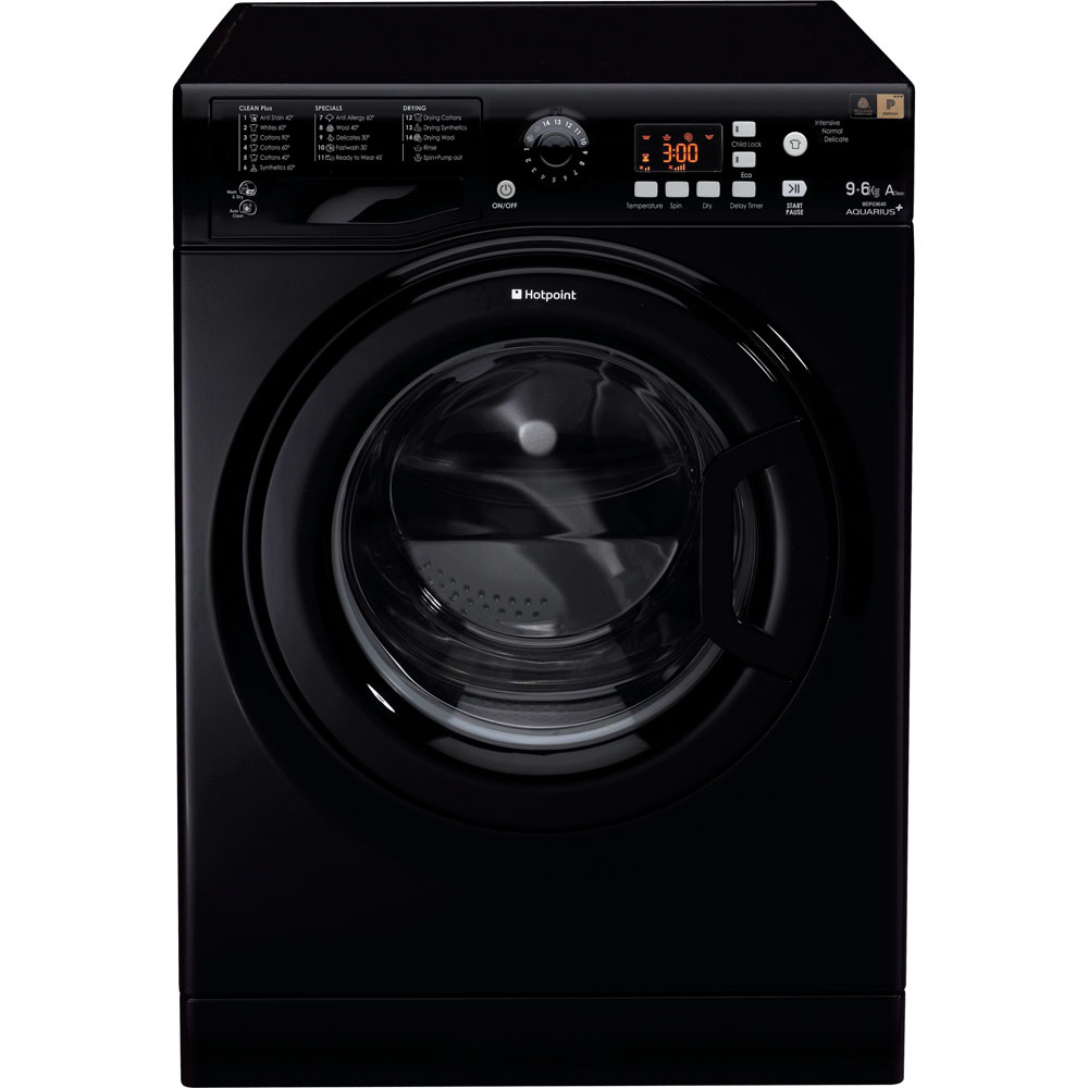 Hotpoint WDPG9640K | 9kg, 1400 Spin Free Standing Washer Dryer - Black-0