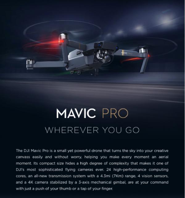 DJI Mavic Pro | 4K Foldable, Obstacle Avoidance Quadcopter Drone -3715