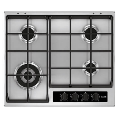 AEG HG654550SY | 60cm Stainless Steel Gas Hob | Cast Iron Supports-0