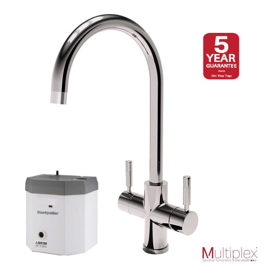 Montpellier Multiplex 3in1SC | Swan Spout Mains Hot, Cold & Boiling Water Tap - Chrome -3856