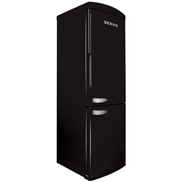 Servis C90185RETROB | 60cm Freestanding Retro Frost Free Fridge Freezer - Black-0