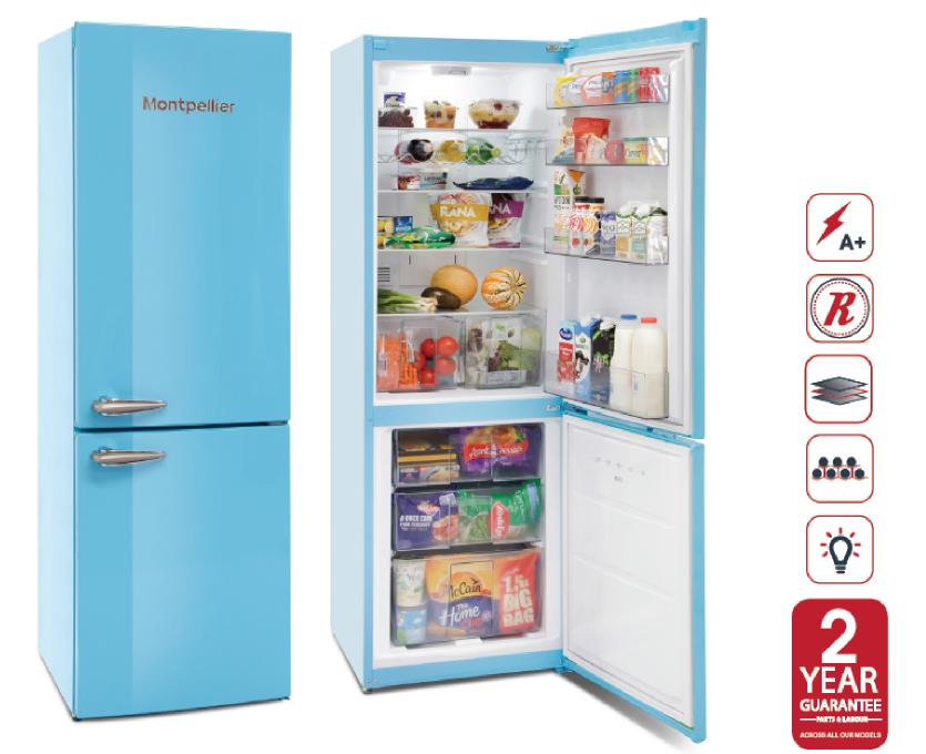Montpellier MAB385PB | Freestanding Retro Style Frost Free Fridge Freezer - Pastel Blue-0