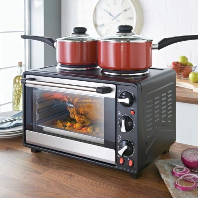 Quest 35370 26 Litre Mini Oven Grill And Twin Hob Black