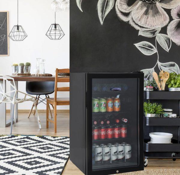 IceKing BF150K 85 Litre Undercounter Drinks Fridge | Lockable Glass Door Beverage Chiller | Eco Friendly A+ Energy (Black)