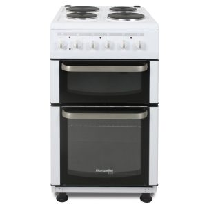 Montpellier TCE51W | 50cm Electric Double Cavity Cooker With Solid Hotplate Hob - White