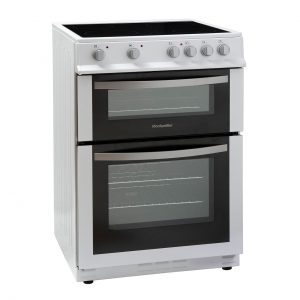Montpellier MDC600FW | 60cm Double Oven Electric Cooker with Ceramic Hob - White